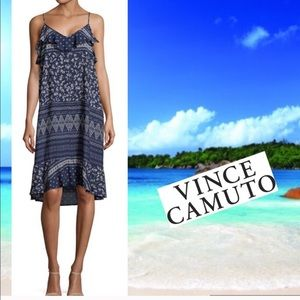 Blue White Dress VINCE CAMUTO Boho V Neck NWT